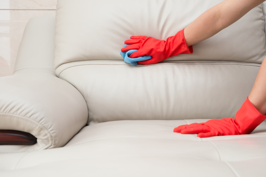 glove cleaning leather sofa